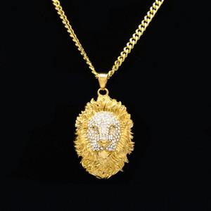 Mens leyed Out Countant Hip Hop Ожерелье Ювелирные Изделия Мода Золотая Льва Голова Ожерелья