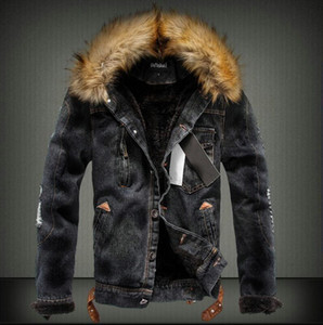 Mens Denim Jacket with Fur Collar Retro Ripped Fleece Jeans Jacket and Coat for Autumn Winter Long Sleeve Warm for Men High Quality