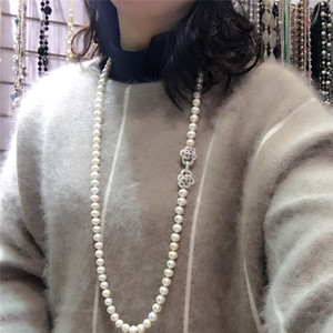 Hot sell 8-9mm 80cm white natural freshwater pearl necklace long sweater chain fashion jewelry C18111901