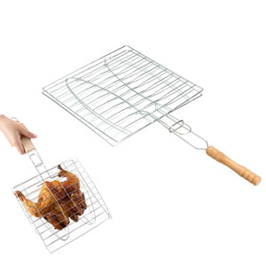 Барбекю клип папка гриль один рыба мясо корзина барбекю 2 рыбы гриль жаркое папка инструмент с деревянной ручкой Кухонные аксессуары