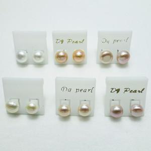 9-10mm 100% de agua dulce aretes de perno prisionero blanco rosado púrpura perla pendiente para niñas joyería colores de mezcla