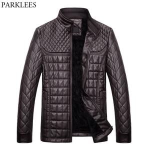 Al por mayor-Winter Pilot Leather Jacket Hombres 2017 Casual Stand Collar de cuero de la PU para hombre chaquetas abrigos Slim Fit Chaqueta acolchada Chaquetas Hombre