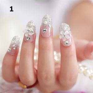 4 가지 스타일 24 개 세트 빛나는 거짓톱 신부 가짜 손톱 전체 손톱 팁 빛나는 인공 손톱 네일 메이크업