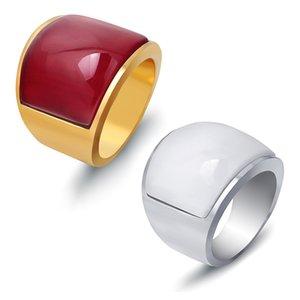 Weinlese-Edelstahl-breite Ringe für Männer Geometrischer roter Opal-Solitaire-Ring-Gold überzogene Art- und Weiseschmucksache-Zusätze Wholesale freies Verschiffen