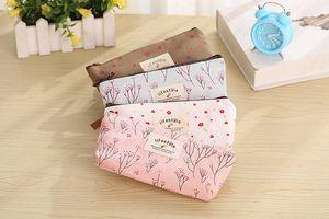 Flor Floral Lápis Caneta Lona Caso Cosméticos Pequena Maquiagem Tool Bag Bolsa De Armazenamento Bolsa