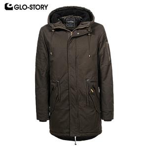 GLO-STORY Hombres Casual Abrigos de invierno Street Wear Cordón Cintura para hombre con capucha chaqueta para 2018 otoño invierno más el tamaño MSX-6673