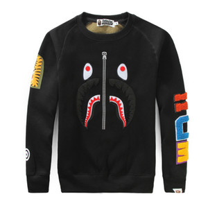 Chaopai embroidery splicing mens spring and autumn couple round neck long sleeve sweater jacket STREETWEAN SWEATER