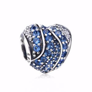 Nouveau authentique S925 argent sterling clair Perle pleine Pave Bleu Cristal Love Hearts Charm Fit marque Charm Bracelets bricolage Charms Bijoux