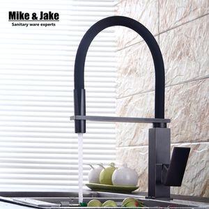 Novo preto puxar para baixo torneira da cozinha quadrado latão misturador da cozinha torneira da pia torneiras misturadoras retire a torneira MJ5556