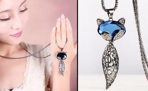 Frete grátis Vintage raposa cadeia camisola estilo longo outono e inverno fox pingente acessórios de moda colar de cristal moda clássico exquis