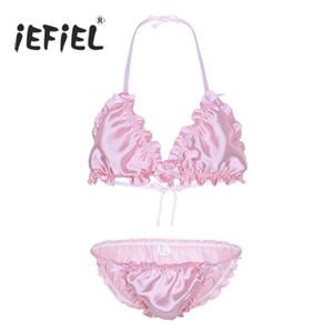 iEFiEL Sissy Mens Ruffled 프릴 샤이니 란제리 Strappy Halter Bikini 브래지어 탑 G-Strings Underwear Gay Panties