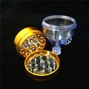 55mm 알루미늄 금속 깔때기 허브 분쇄기 3 개 부분 담배 허브 향신료 분쇄기 핸드 크래커 호넷 분쇄기