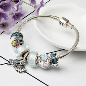 Moda Kristal Boncuk Bilezik ile Pandora Stil Shell Kolye Charm Boncuk Takı için Logo