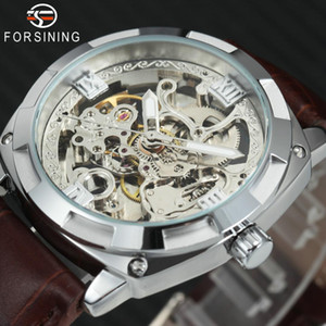 2018 FORSINING Top Auto Mechanical Watch Men Leather Strap Skeleton Tonneau Dial Classic Vintage Wrist Watches