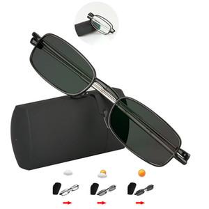 Gafas de lectura fotocromáticas de transición hombres mujeres Unisex Slim Mini gafas de lectura plegables casos portátiles Lunettes de conferencia