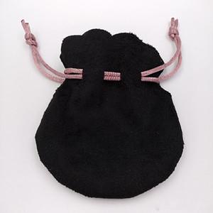 Pink Ribbon Black Velvet Bags Fit Pandora Estilo Europeu Beads Encantos e Pulseiras Colares de Jóias Moda Pendant Bolsas
