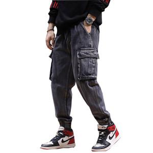 2018 Yeni erkek Kot pantolon Sonbahar ve Kış yeni Büyük Cepler erkek Gevşek bel kot pantolon Boyutu XS-XXL 3XL 4XL