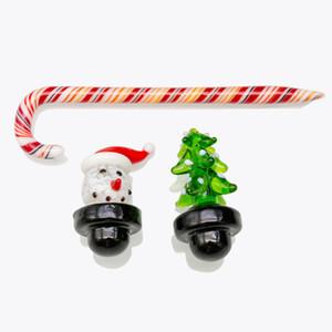 Cabochão De Vidro inebriante Cap Presente de Natal Boneco De Neve Candy Cane Dabber Caps Dome para Fumar Fumante Presente de Natal