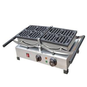 aço inoxidável BEIJAMEI máquina de waffle comercial, elétrica rotativa máquina de waffles belgas, forma quadrada tomada de waffle máquina