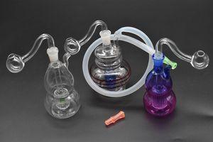 coloré mini plate-forme pétrolière Bong Thick Heady Glass tuyau de brûleur à mazout 10mm femelle petit tuyau de fumage de l'eau avec embout de tuyau en silicone