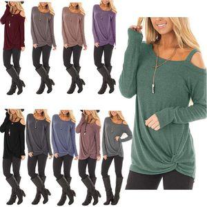 Sıcak Satış 10 Renkler kadın Uzun kollu Tişört 2018 Güz Kış Yeni Büküm Düğüm Tasarım Rahat Pamuk T Gömlek Tops