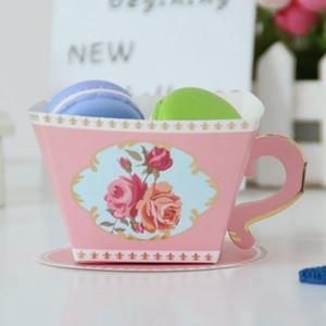 Toptan 100 ADET Çay Şekli Şeker Kutusu Parti Düğün Misafirler Hediyeleri Doğum Duş Favors Dekorasyon Kupası Favors