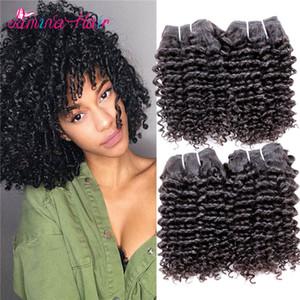 Kinky Curly Human Hair 4 Bundles Natural Black 10A 100 Необработанные человеческие реми волосы Short Salon Curly Weave Бразильские волосы для волос Virgin