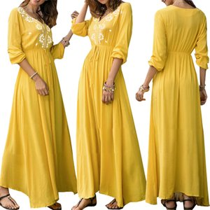 2019 Yellow Long Women Casual Dresses Fashion V Neck Printing Long Sleeves Pleats Ankle Length Party Dresses Real Photos High Quality