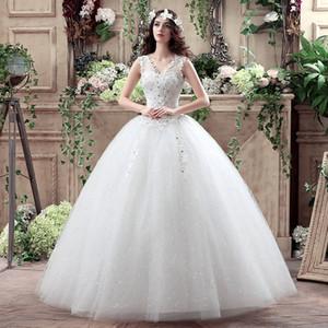 2016 neu kommen koreanische sommer modische günstige hochzeitskleid kristall plus size brautkleider lace up kleider vestido de noiva
