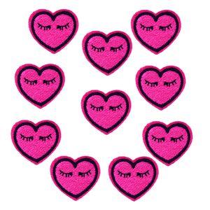 10 unids Smile Love Heart parches insignias para la ropa hierro parche bordado apliques de hierro en parches accesorios de costura para bolsas de ropa de bricolaje