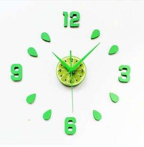 Diy ساعة الحائط سات reloj مزيج الجدار ملصق ذاتية اللصق ساعة relogio دي parede الإبداعية الأخضر الليمون الساعات غرفة المعيشة