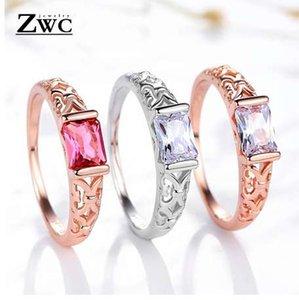 Zwc moda glamour upscale oco praça anel de cristal para as mulheres homens festa de casamento romântico vintage anéis de presente por atacado de jóias