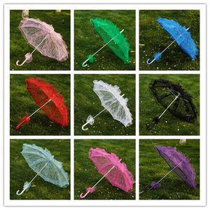 10 Farbe Brautspitze Regenschirm 2 Größe elegante Hochzeit Parasol Spitze Craft Regenschirm für Show-Partei-Dekoration Foto Props Dance Umbrella