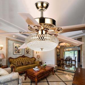 Modern Tavan Fanı Lambası LED 3 Değişen Işık 5 Geri Dönüşümlü Bıçakları Kristal Avizeler Işık Uzaktan Kumanda ile Dilsiz Enerji Tasarrufu Fan