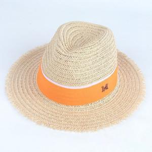 Sezione di marea M lettera burr straw hat Ladies fashion jazz hat Wild couple beach sun