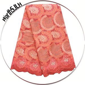 Нигерийский Swiss Dry Lace В Швейцарии вышивки высокого качества швейцарского Voile ткань шнурка Orange Royal Blue African ткань шнурка
