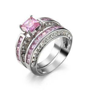 الوردي خاتم الماس Asscher قطع خواتم الخطبة خواتم الذهب الأبيض الوردي الزركون الدائري للنساء مجوهرات حجر الراين الدائري