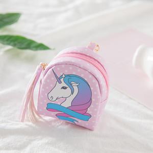 Yeni Sevimli Unicorn Tam Desen Püskül PU Sikke çanta Çocuk Tuşları Sahipleri Çocuklar Karton Çanta Çanta Kulaklık Hatları Stroge Çanta M038-2