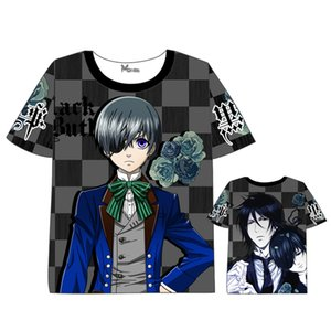 Tee shirt Anime Black Butler Hommes Femmes Robe d'été à manches courtes T-shirt Cartoon Anime Sebastian Michaelis