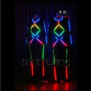 TC-74 LED красочный свет робот костюмы RGB Party wear ballroom LED танец костюм бар этап программируемый полный цвет певица ткань производительность