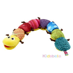 Juguetes para bebés Material musical Caterpillar con campana de anillo Cute Cartoon Animal Plush Doll Aprendizaje temprano Educativos Niños Juguetes de aprendizaje