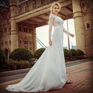 Un mot épaule robe de mariée blanche Fish Tail dentelle à manches longues en dentelle sexy de haute qualité libre printemps de marchandises autocollants Plages Robe de mariée