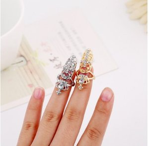 Nail Finger Rings 3 Styles Fashion Ongle anneaux Croix, Fleur, Couronne Charm strass Parti Grappe doigt ongles anneaux ongles Cap Cover