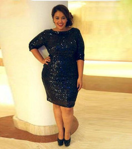 Sparkly Navy Plus Size Cocktail Dress Half Sleeve Knee Length Sheath Shiny Sequined Party Gowns Custom Size
