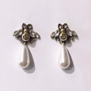 marchio di moda gioielli di perle Orecchini ala ape di perle Orecchini in ottone d'epoca orecchini di design di alta qualità 2020 earings di design