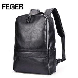 FEGER New Arrival PU Leather men Backpack Fashion High Quality  Preppy Style boy School Bag Travel Bag 9016
