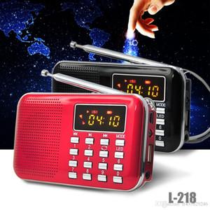 Mini old man rádio portátil l-218 lcd digital fm rádio speaker usb tf cartão aux lanterna led mp3 player de música