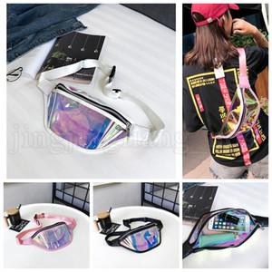 Mujeres PVC Láser Holograma Paquetes de Cintura Paquete de Fanny Cremallera Bolsa de Cinturón Reflectante Bolsa de Teléfono Holográfico Transparente Niños Bolso OOA5211