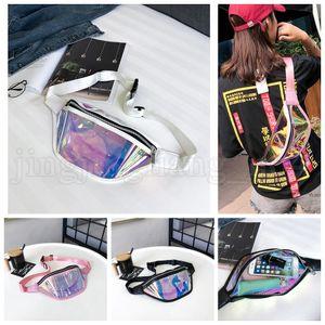 Women PVC Laser Reflective Waist Kids Fanny Bag Zipper Hologram Pack Packs Holographic Phone Belt OOA5211 Handbag Transparent Vjvia