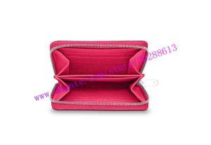 Calidad superior de Hot Pink Patent Vernis en relieve de cuero real ZIPPY COIN PURSE M90345 Mujeres Short Square Coin Wallet